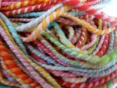 Pink Rainbow Handspun Yarn. via Etsy.