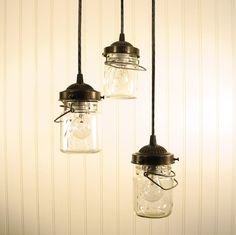 Vintage Clear Mason Jar CHANDELIER Created NEW. $149.00, via Etsy.