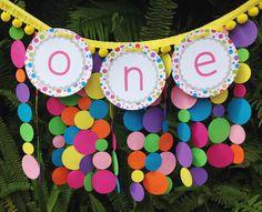 Polka Dot Birthday Banner First Birthday High by BunnyKissDesigns
