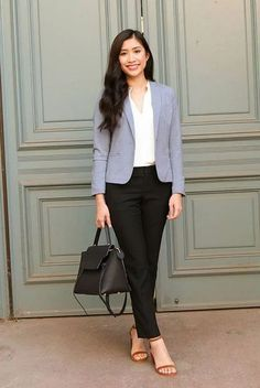 Great Idea 15 Look Elegant With Simple Formal Outfits Ideas For Women That Inspire You The idea of a simple formal attire was much liked by women who want to look cool but do not want to be complicated. Formal clothes are clothes that . Casual Work Outfits, Work Attire, Office Outfits, Classy Outfits, Formal Outfits, Outfit Work, Summer Outfits, Korean Fashion Work, Work Fashion