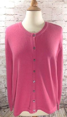 Foxcroft Cardigan Sweater Pink Size XL 100% Cotton Peru Button Front Long Sleeve