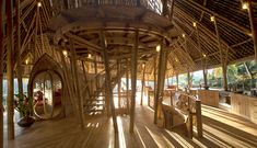 Green Village:  dawn in the living room of a bamboo house in Bali.