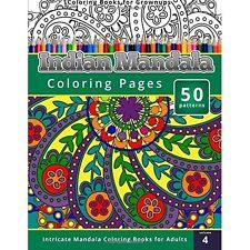 Adult Coloring Book Indian Mandala for Grownups Relief Stress Creative Relaxing