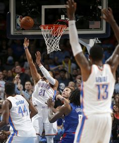 4d032352d Oklahoma City s Andre Roberson makes a basket during an NBA basketball game  between the Oklahoma City Thunder and the Los Angeles Clippers at  Chesapeake ...