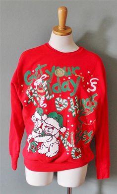 Vtg Ugly Christmas Sweater Women Men M sweatshirt BUSY bear Hugs Kisses CS19 #Puzzles #Crewneck