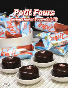 These delicate and sweet Petit Fours Recipe using Lemon Square Inipit are bite-size mini cakes perfect for weddings, parties, tea time, and baby showers. Filipino Dishes, Filipino Desserts, Filipino Recipes, Filipino Food, Mixture Recipe, Cake Mixture, Oven Recipes, Cake Recipes, Cooking Recipes