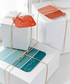 Wrapping with paint sample tags. Great idea!