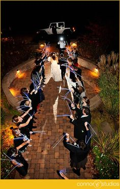 Glow Stick Wedding Exit http://glowproducts.com/glowsticks/ #GlowSticks
