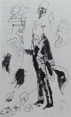 1905 Sketchbook page from Picasso 'Caricature of Guillaume Apollinaire as Academician'