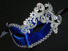 New to TheCraftyChemist07 on Etsy: Masquerade Mask in Blue and Silver with Velvet and Lace Accents (30.00 USD)