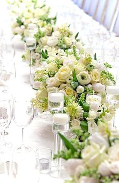 White table and flower arrangements