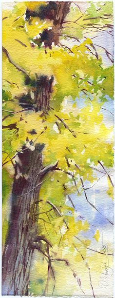 Autumn forest aquarelle impression de peinture par OlgaSternyk                                                                                                                                                                                 Plus