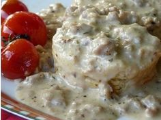Spicy Sausage Gravy and Biscuits