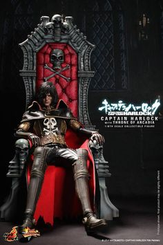 Hot Toys Movie Master Piece: Space Pirate Captain Harlock - Captain Harlock with Throne of Arcadia Space Pirate Captain Harlock, Captain Harlock Movie, Space Captain, Comic Manga, Manga Comics, Gi Joe, Anime Figures, Action Figures, Science Fiction
