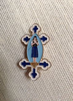 Vintage Enamel Saint Joan of Arc Blue Brooch by DanasLegacy, $29.00