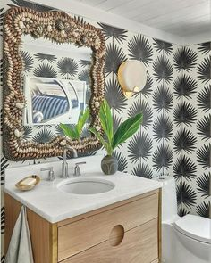 The black-and-white palmetto-print wallpaper—an iconic symbol of the Lowcountry landscape—shines in the powder room in our 2018 Idea House in Habersham, South Carolina. Bathroom Windows, Bathroom Wallpaper, Print Wallpaper, Funky Wallpaper, Amazing Wallpaper, Wallpaper Ideas, Geometric Shapes Wallpaper, Circa Lighting, Inspirational Wallpapers