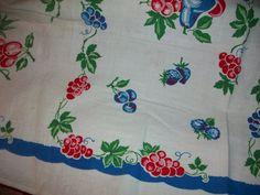Vintage Cherries Fruit  Kitchen Towel 50s Runner by raggedy10, $9.99