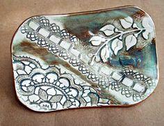 Dark Sea Green Lace Trinket  Dish Soap Dish by dgordon on Etsy