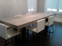 Polished Chunky Concrete Dining Table With Industrial By Breuhaus - Concrete dining room table