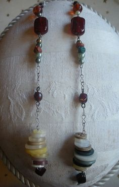 Long Handmade Chain Earrings w/ Vintage and Handmade Beads & Buttons