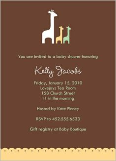 Two Giraffes Baby Shower Invitation
