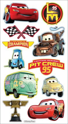 Disney/Pixar Puffy Stickers, Cars - anger how to get Disney Cars Party, Disney Pixar Cars, Auto Party, Car Party, Disney Nursery, Cars Birthday Parties, Baby Mouse, Lightning Mcqueen, Disney Christmas