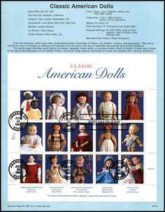 3151 / Classic American Dolls Complete Sheet of 15 USPS 1997 Souvenir Page Bond Paper, Background Information, First Day Covers, American Dolls, Stamp Collecting, Stamps, Mint, Number, Collections