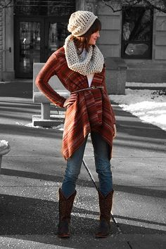 Long sweater cowboy boots