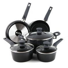Khome's Brand KHC0127 Aluminum 8-Piece Gradient Black Cookware Set-Black Non Stick Interior -- Be sure to check out this awesome product.