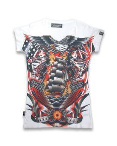 Liquor Brand Damen SIRENSEA T-Shirt.Oldschool,Tattoo,Pin up,Custom,Biker Style