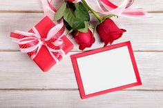 Photo about Valentine background of gift box, two red roses and blank card with envelope on wood. Valentine Background, Rose Background, Flower Background Wallpaper, Flower Backgrounds, Happy Valentines Message, Valentine Messages, Valentine Day Gifts, Invitation Maker, Etsy Cards