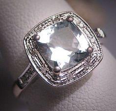 Vintage Aquamarine Wedding Ring Diamond Art by AawsombleiJewelry, $1250.00