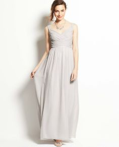 Silk Georgette V-Neck Gown in Fancy Nickel  Leah, do you like this light grey color?