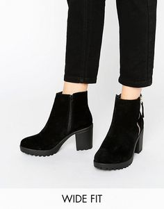 b3572f8f25f River Island Wide Fit Chunky Heeled Ankle Boot at asos.com