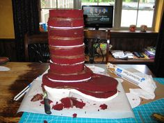"""Cowboy Boot Cake """"Carving"""" The cake was 10 layers of red velvet Fondant Cake Tutorial, Fondant Cakes, Cupcake Cakes, 3d Cakes, Cowboy Boot Cake, Cowboy Cakes, Cake Decorating Techniques, Cake Decorating Tutorials, Western Cakes"""