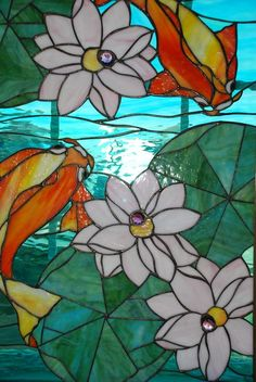 Koi Fish And Lily Pads - Delphi Stained Glass