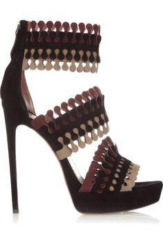 Suede high heel sandal