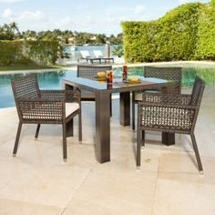 Source Outdoor Matterhorn St. Tropez All-Weather Wicker Patio Dining Set - Seats 4 by Source Outdoor. $2835.00. Constructed of deep espresso, dura-weave resin wicker. Includes 40 in. dining table with 4 chairs. No assembly is required. Top-quality Sunbrella cushions in a variety of colors. Fully welded aluminum frame has 10 step powder-coat finish. Dine in comfort and elegance with the Source Outdoor Matterhorn St. Tropez All-Weather Wicker Patio Dining Set - Seats 4 . D...