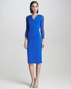 Lace-Sleeve Dress by Oscar de la Renta at Bergdorf Goodman.