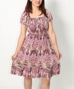 Love this Purple Paisley Smocked Empire-Waist Dress on #zulily! #zulilyfinds