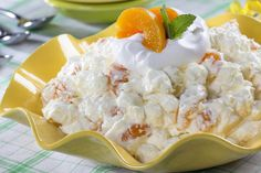 """There's a whole lot of peach flavor waiting for you in our """"Just Peachy"""" Fluff Salad. This easy dessert is made from just 5 ingredients and can be thrown together just an hour before your next get-together - absolutely no baking or cooking involved!"""