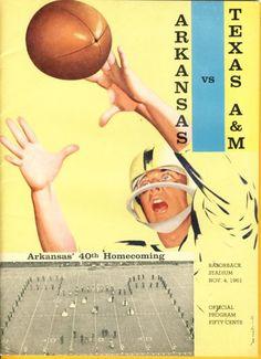 1961 Game Program between Arkansas vs Texas A & M on 11/4/61