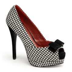 Pin Up Couture BELLA-11 Houndstooth Fabric-Black Peep Toe Pumps