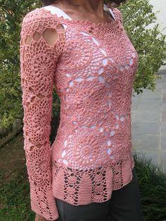 Celeidapaixaoportrico: Blusa em crochê com squares! ( rendada)
