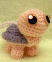 Crochet pink/purple amigurumi turtle