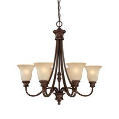 This Hammond collection 6-light chandelier features a burnished bronze finish that will compliment many traditional decors. The mist Scavo glass shades soften the light and complete the look.