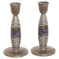 Jean Mayodon French Art Deco Pair of Ceramic Candlesticks   From a unique collection of antique and modern candle holders at https://www.1stdibs.com/furniture/decorative-objects/candle-holders/