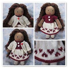 Free Knitting Pattern: Ruby Valentine's Dress  From http://www.ravelry.com/patterns/library/ruby-valentines-dress.  Plus The Free Pattern For Base Doll And More Clothing http://www.ravelry.com/designers/beth-ann-webber