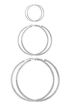 Silver And Rhinestone Hoop Trio Earrings | Jewelry #IAmTorrid