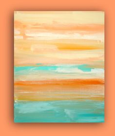 """Original Coral and Aqua Acrylic Abstract Fine Art Painting Titled: CORAL SURF 24x30x1.5"""" by Ora Birenbaum. $225.00, via Etsy."""